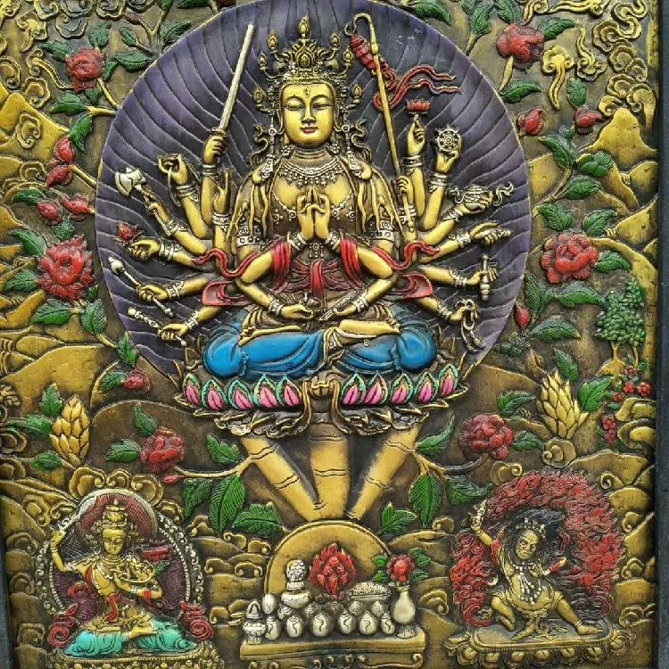 Wooden Frame Painted Tangka Wood Carving - 3