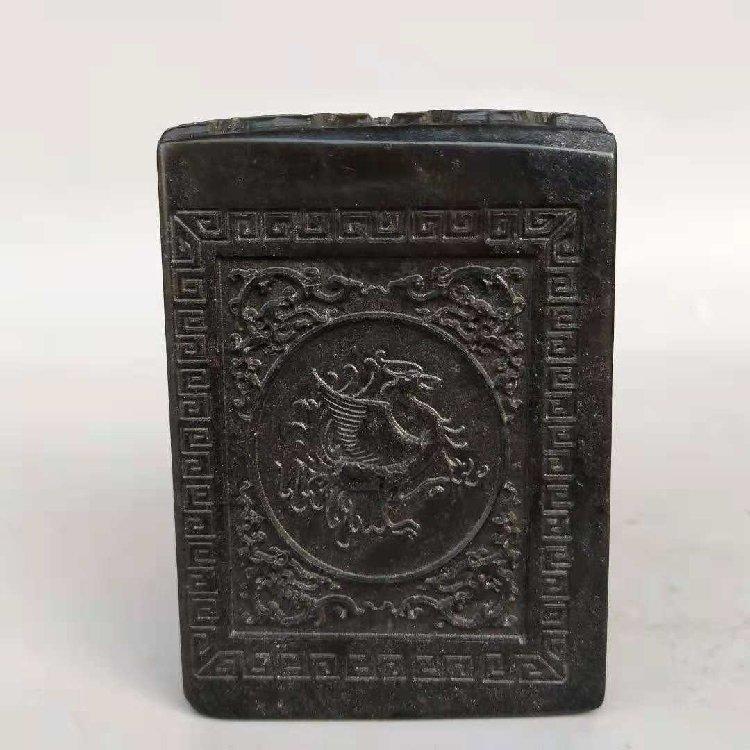 Black Bluestone Ancient Seal Hand-carved - 5
