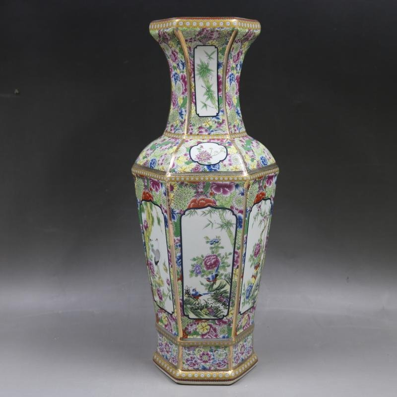 Qianlong gold-enameled flower-and-bird vase in the Qing