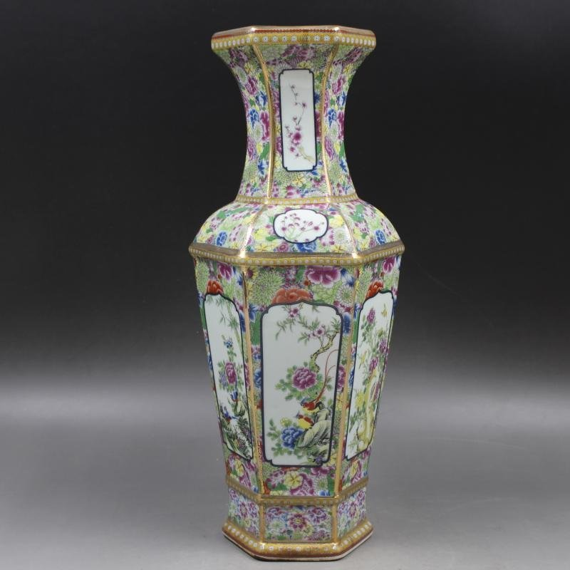 Qianlong gold-enameled flower-and-bird vase in the Qing - 5