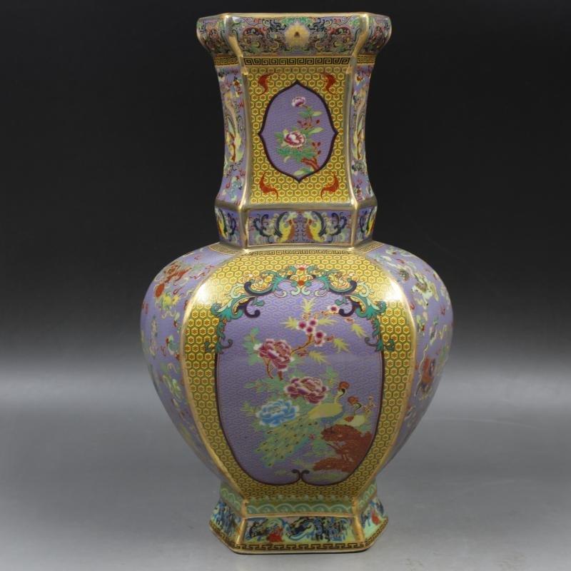 Qianlong Gold Enamel flower-bird hexagonal celestial - 4