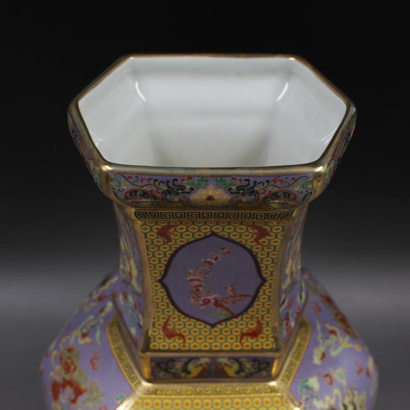 Qianlong Gold Enamel flower-bird hexagonal celestial - 5