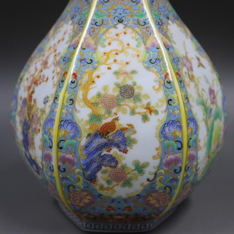 Hexagonal Garlic Bottle Made of Enamel Flowers and Bird - 7