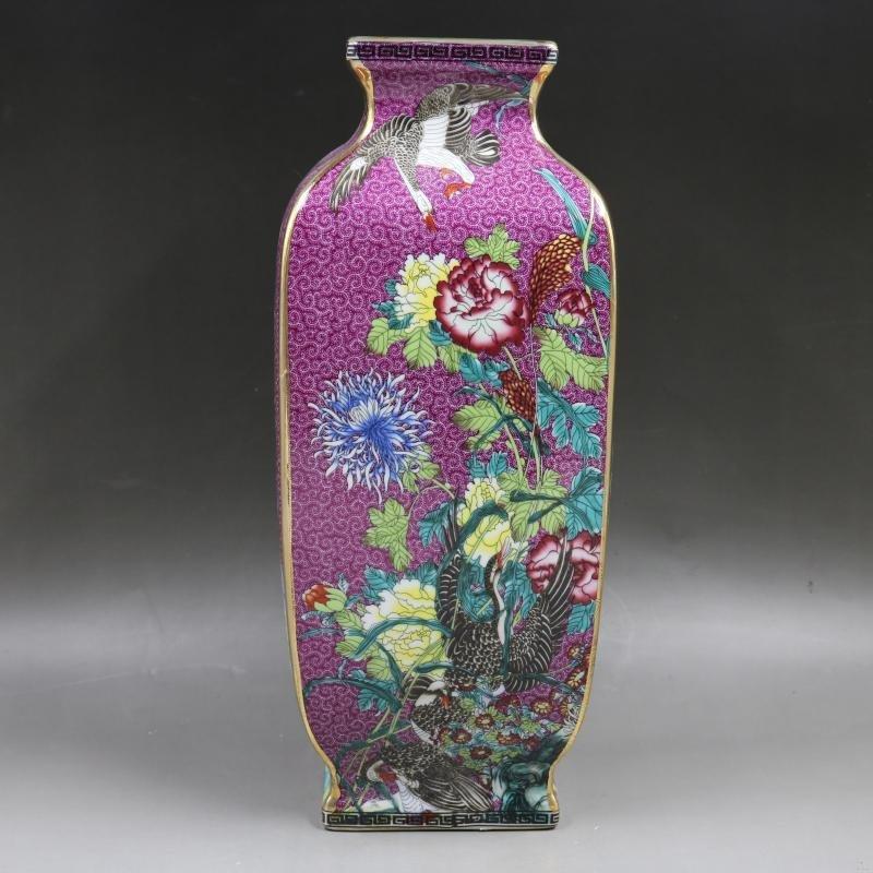 Enamel Four Seasons Flower and Bird Square Vase - Qing
