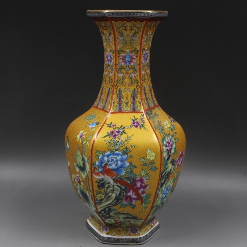 Hexagonal Vase for Enamel Flowers, Flowers and Birds