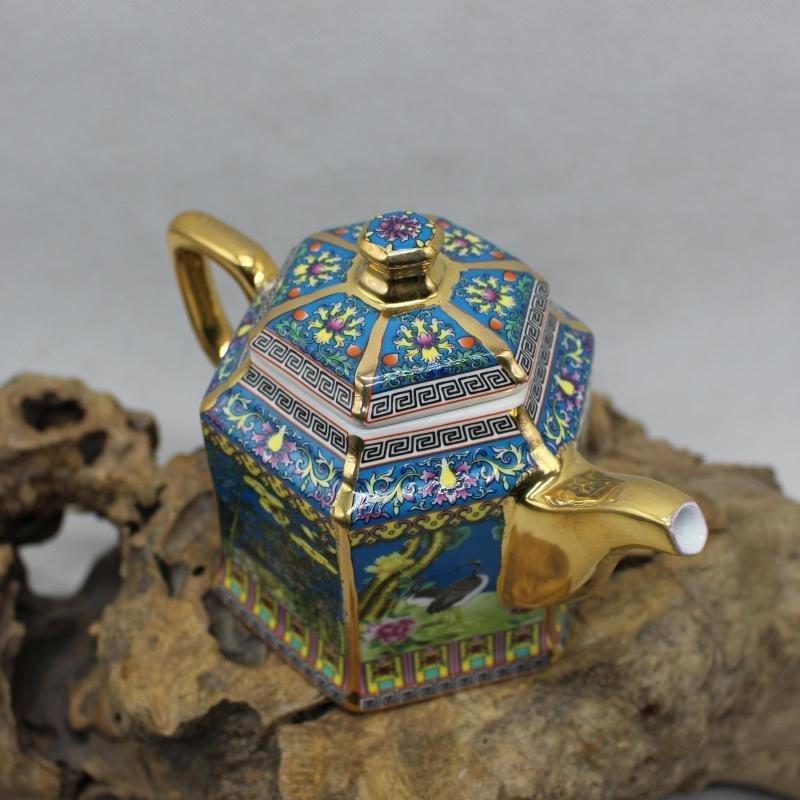 Golden Flower and Bird Teapot - the Year of Qianlong of - 3