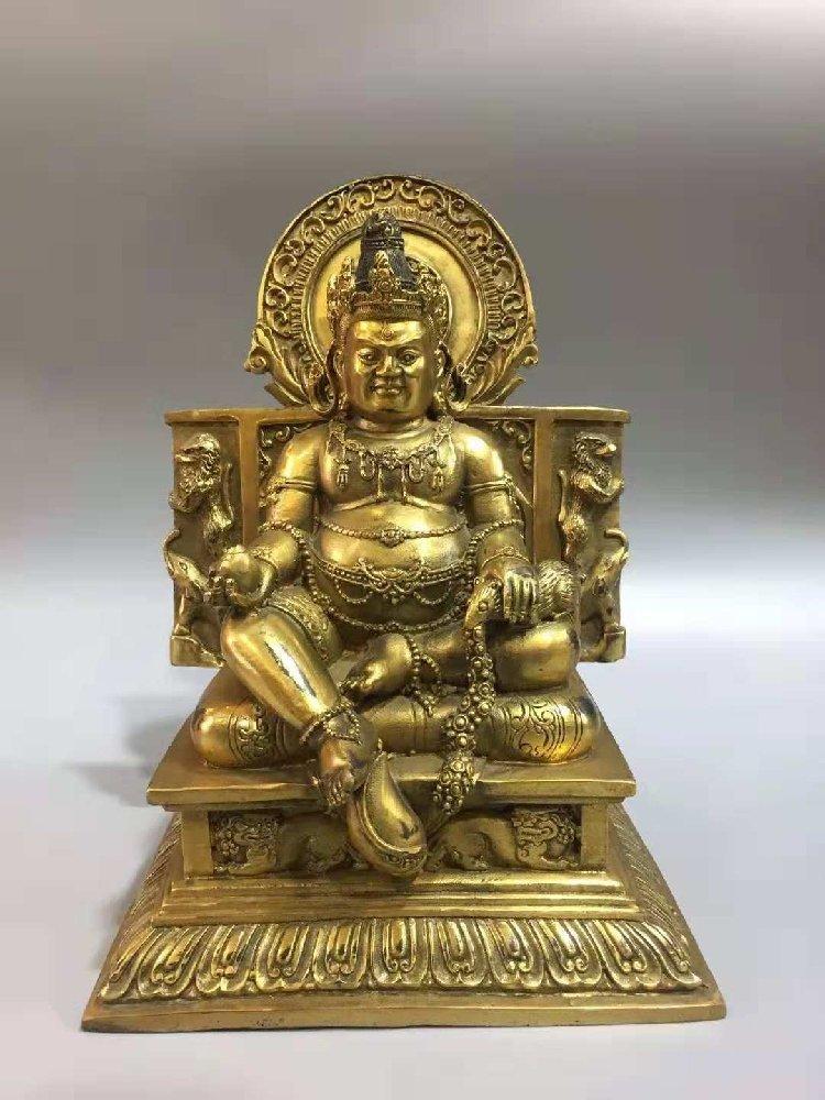 Pure bronze statue of  Buddha, Goddess of Wealth,