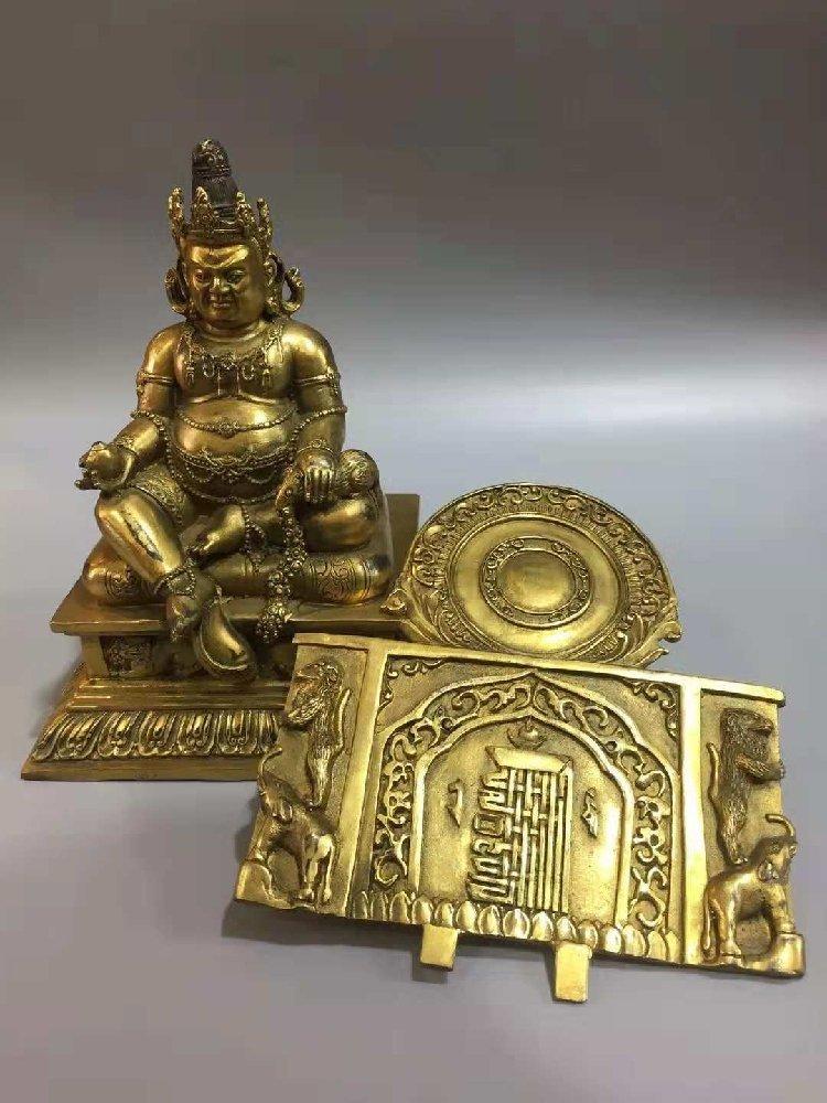 Pure bronze statue of  Buddha, Goddess of Wealth, - 3