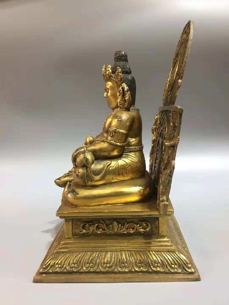 Pure bronze statue of  Buddha, Goddess of Wealth, - 5