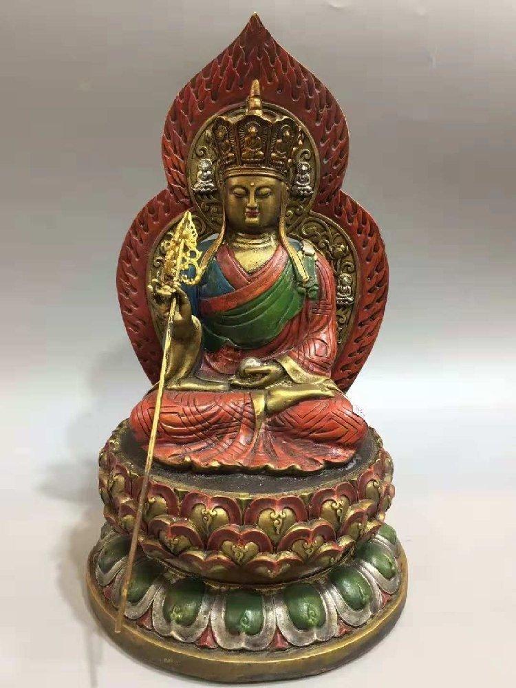 Kaiguang Pure Copper Painted Tathagata Buddha Statue, S