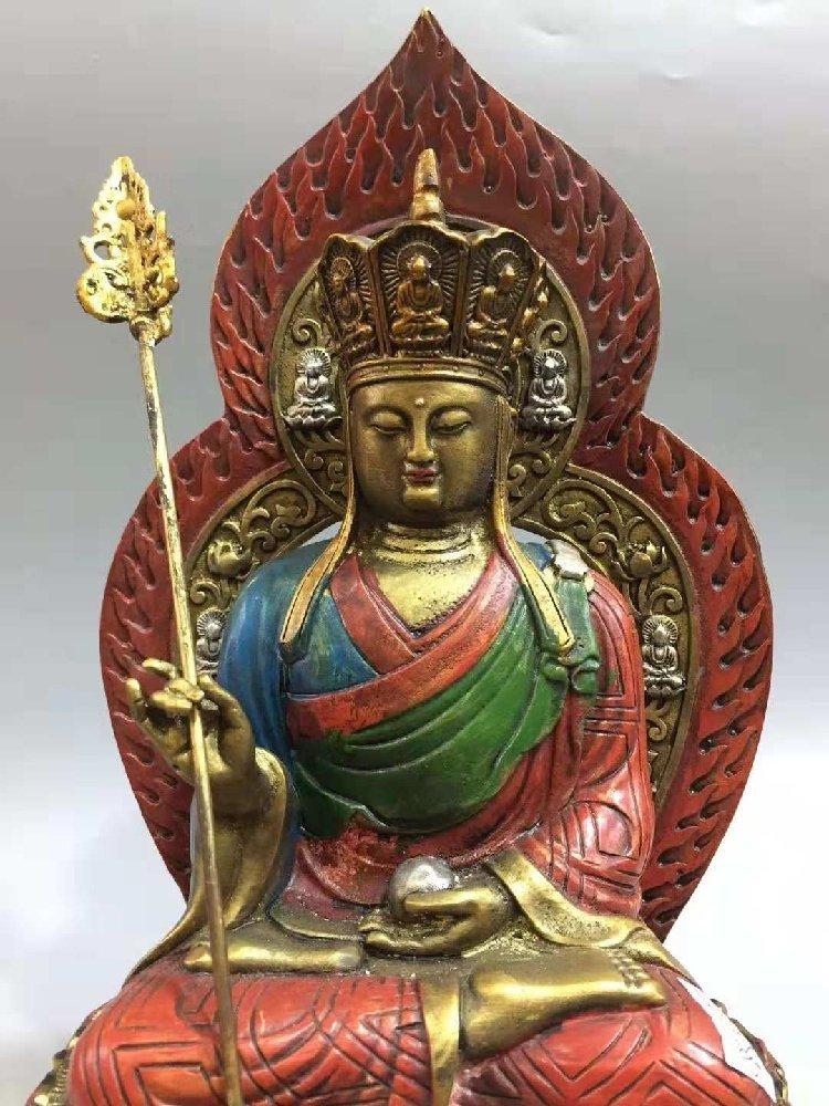 Kaiguang Pure Copper Painted Tathagata Buddha Statue, S - 4