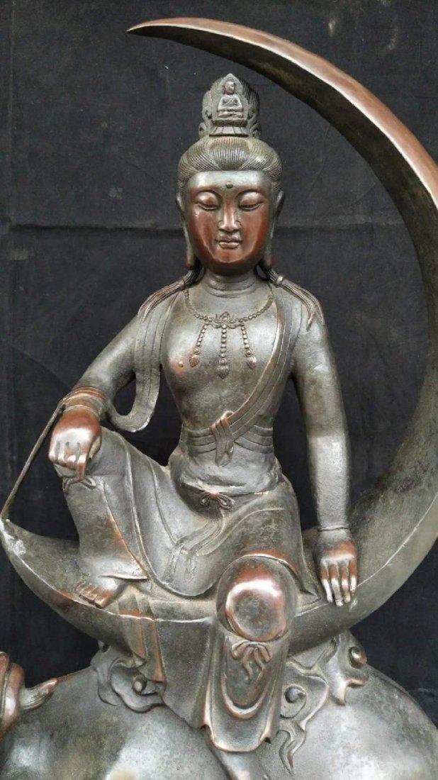 Moon Avalokitesvara big ornament pure copper qing dynas - 4