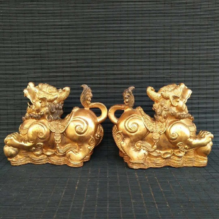 Pure Copper Kirin Place a Pair to Recruit Money - 4