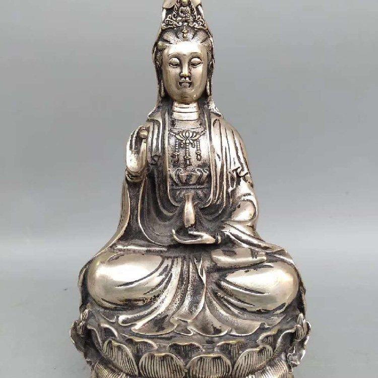 Bronze Silver Buddha Statue Pure Bronze :Ming Dynasty