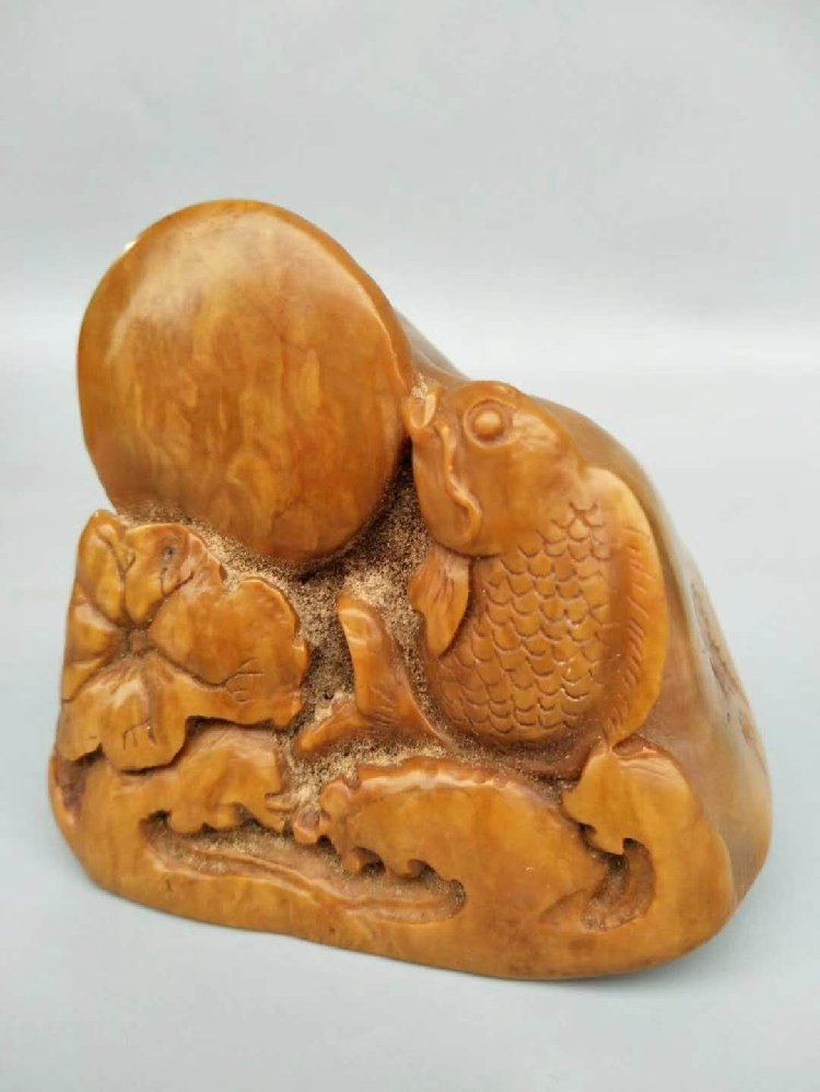 Shoushan Stone Seal Carved with Fish Stone Seal - 2