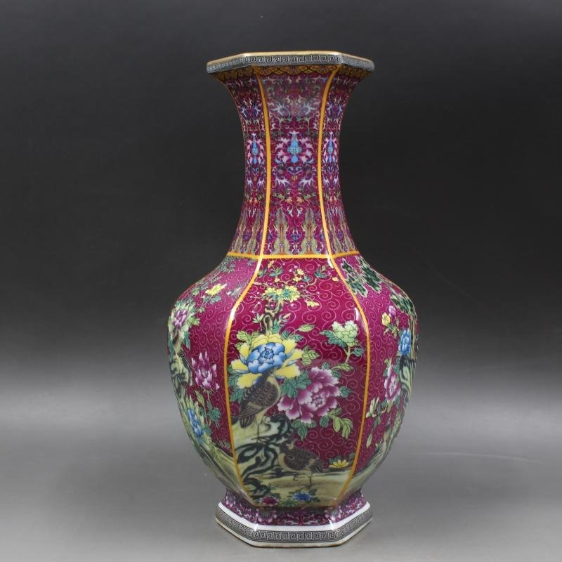 Six-sided Vases of Golden Flowers and Birds