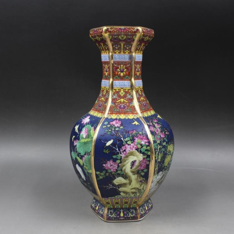Drawing Hexagonal Vases of Golden Enamel Flowers and