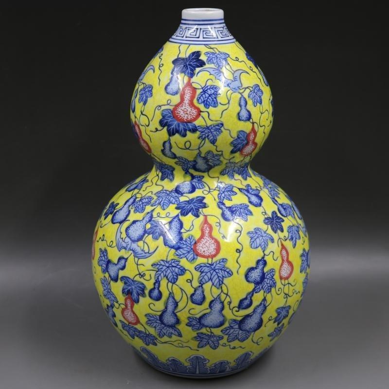 Qing Yongzheng Huangdi blue and white gourd pattern