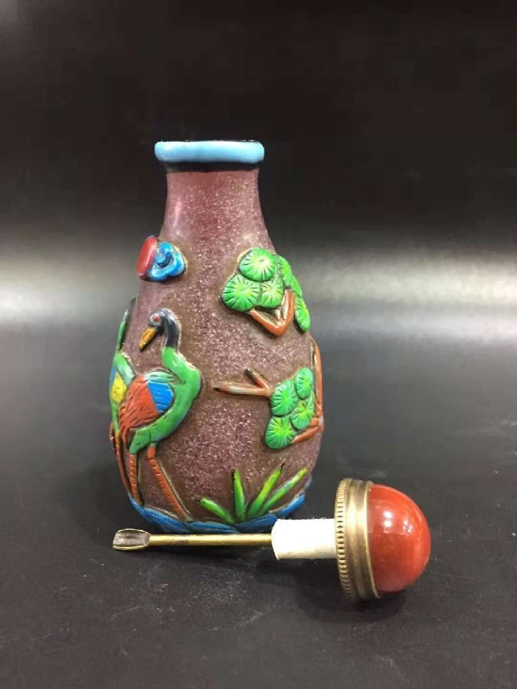 Outside glazed snuff bottle Carver crane snuff - 7