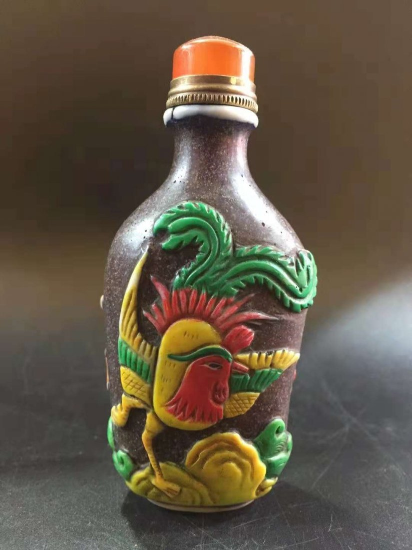 Glass exterior Carver snuff bottle