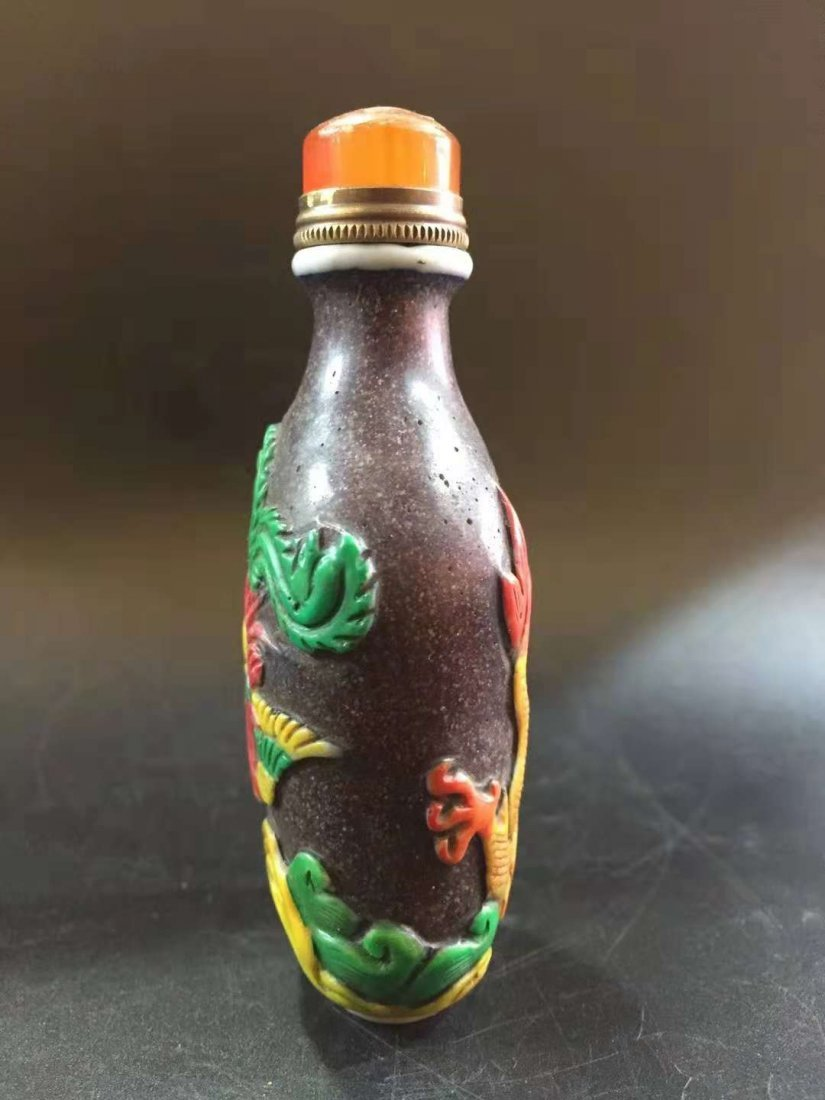 Glass exterior Carver snuff bottle - 4