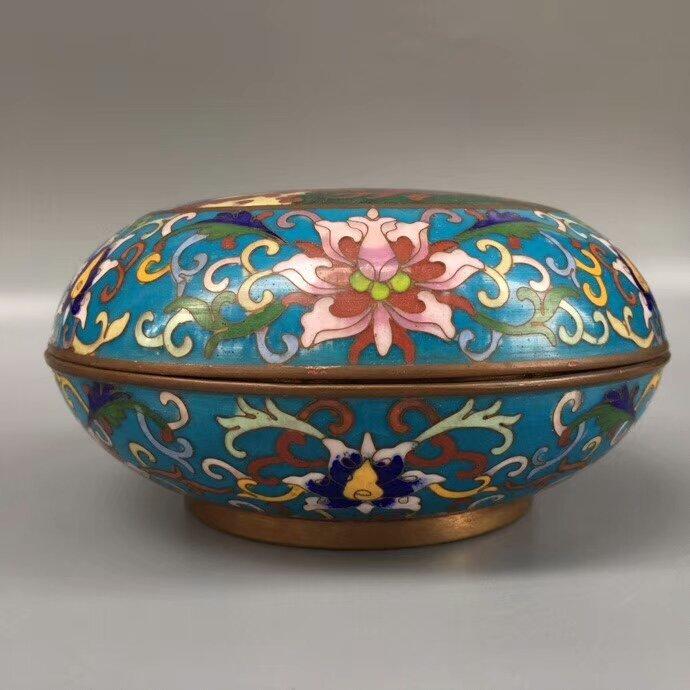 Cloisonne Bronze Enamel Blue Glaze Powder Box