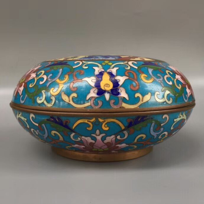 Cloisonne Bronze Enamel Blue Glaze Powder Box - 2