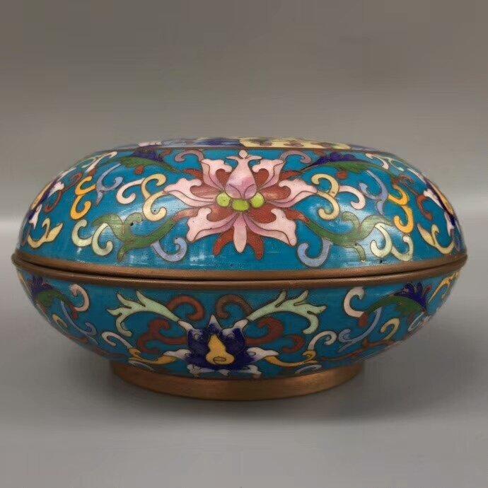Cloisonne Bronze Enamel Blue Glaze Powder Box - 4