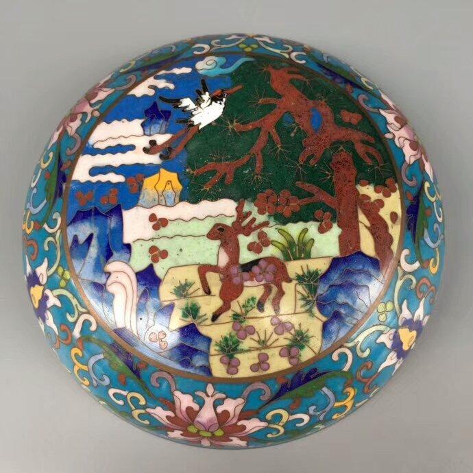 Cloisonne Bronze Enamel Blue Glaze Powder Box - 5