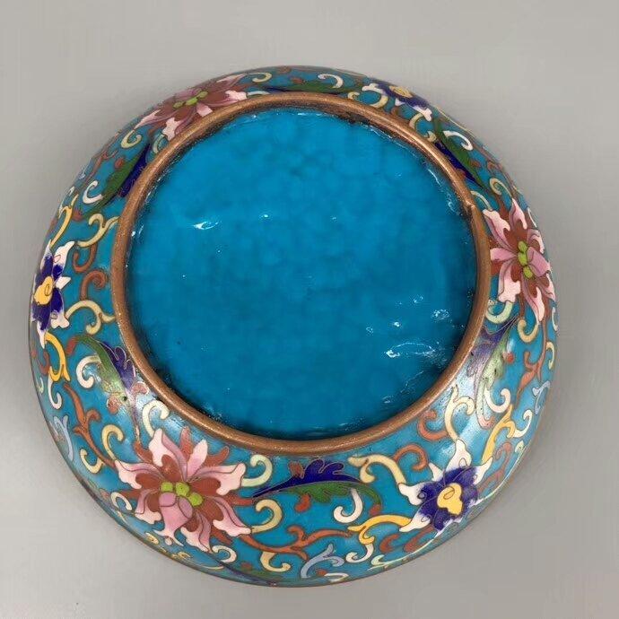 Cloisonne Bronze Enamel Blue Glaze Powder Box - 6