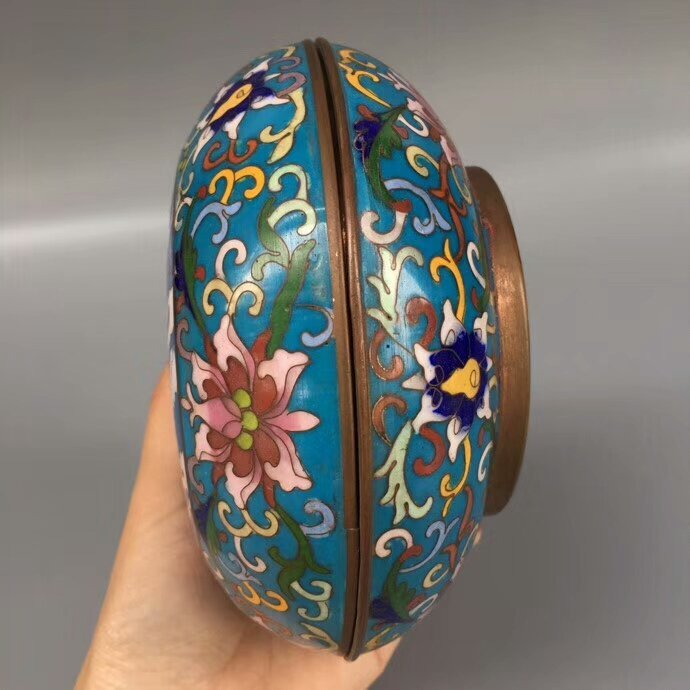 Cloisonne Bronze Enamel Blue Glaze Powder Box - 7