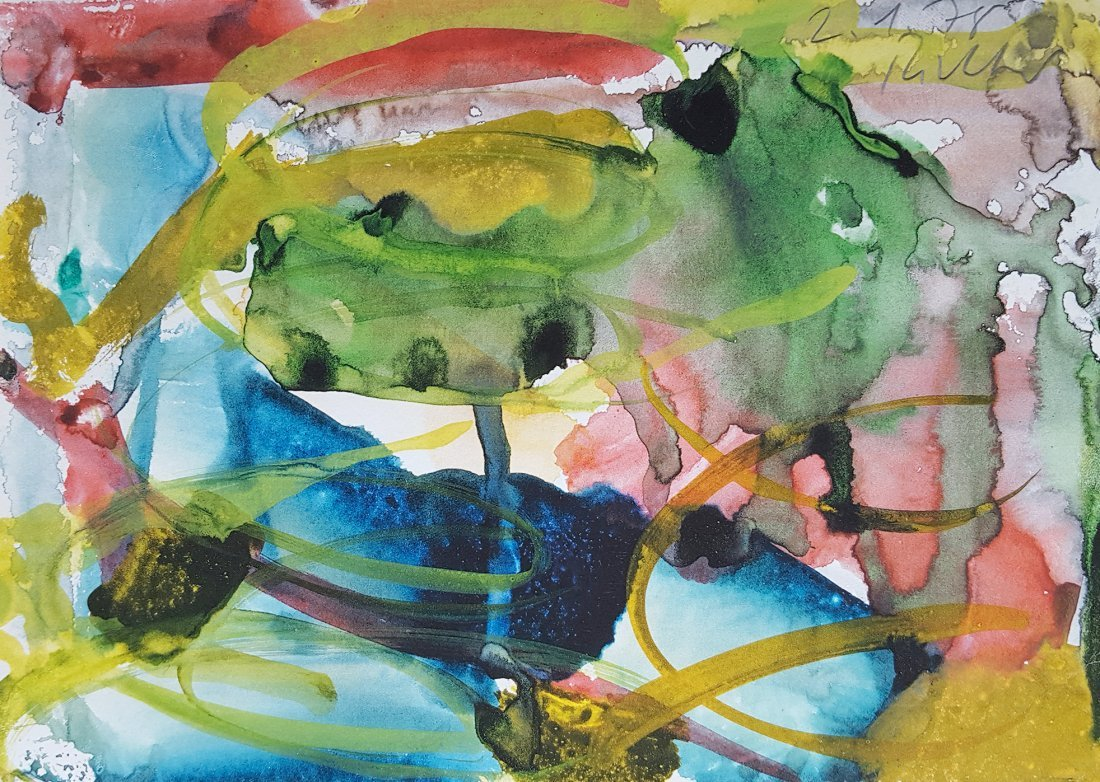 Untitled 78 hand painted Watercolor by Gerhard Richter