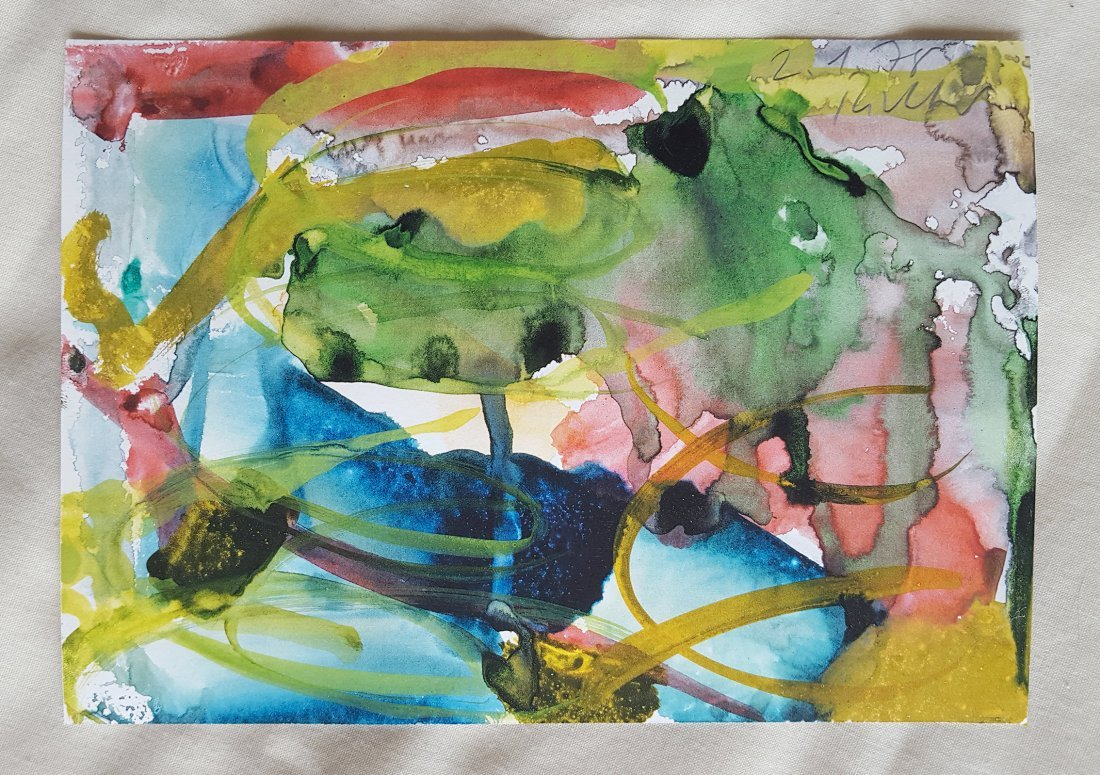 Untitled 78 hand painted Watercolor by Gerhard Richter - 2