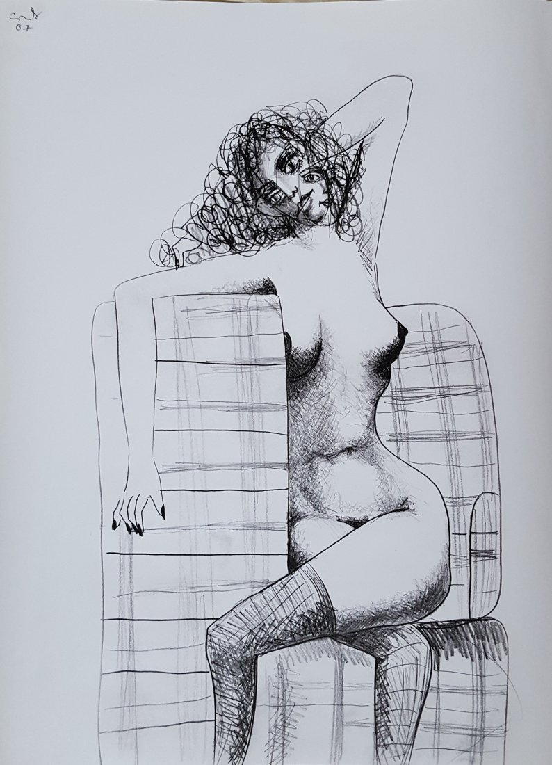 George Condo Nude on Chair original graphite on paper