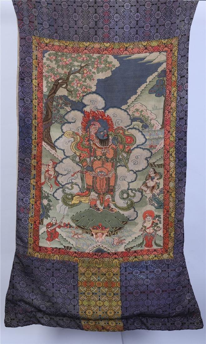 TIBETAN KESI EMBROIDERY THANGKA OF BUDDHA GUADARIN