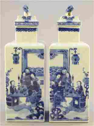 PAIR OF CHINESE BLUE AND WHITE PORCELAIN SQUARE BOTTLES