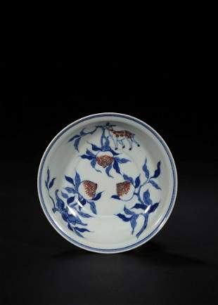CHINESE BLUE AND WHITE RED GLAZED 'PEACH DISH
