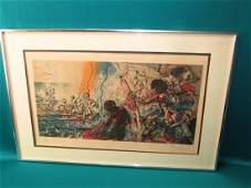 Salvadore Dali Tuna Fishing 1971-72 Signed Lithograph/P