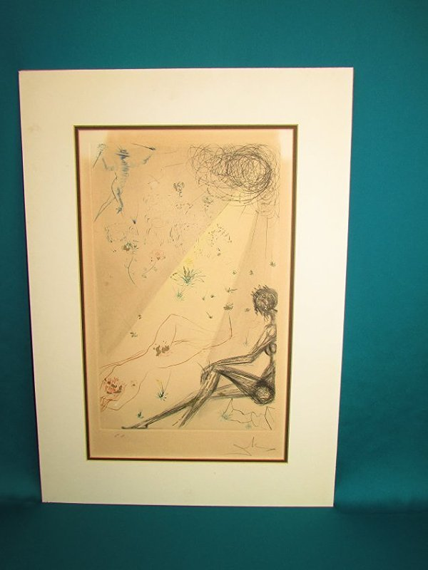 Salvador Dali Reclining Nude Lithograph Print Signed