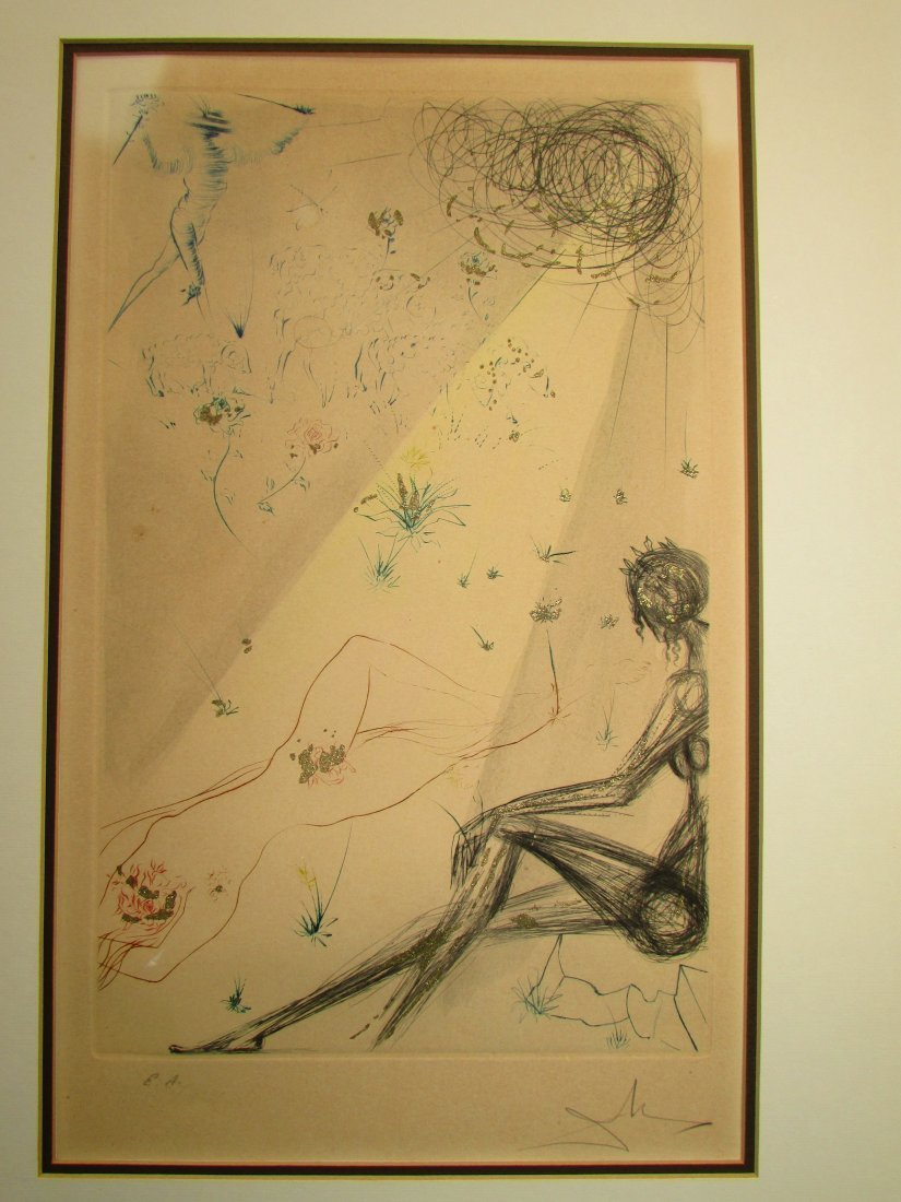 Salvador Dali Reclining Nude Lithograph Print Signed - 2