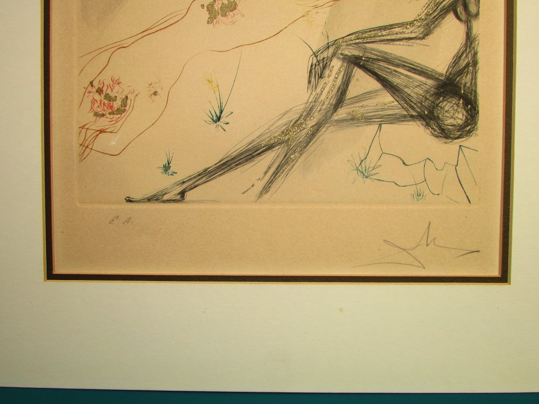 Salvador Dali Reclining Nude Lithograph Print Signed - 3