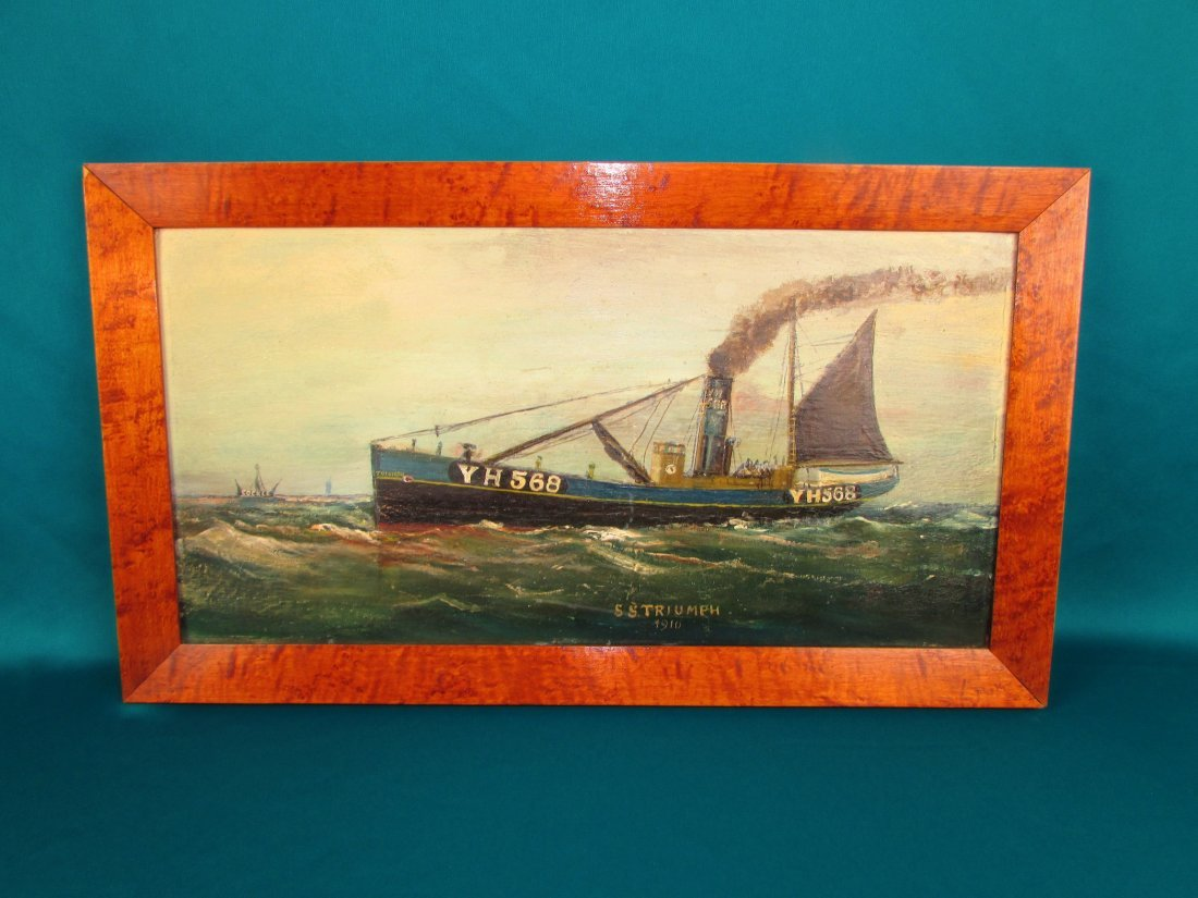 "1910 ""S.S. Trriumph\"" Historical Nautical Oil Painting"