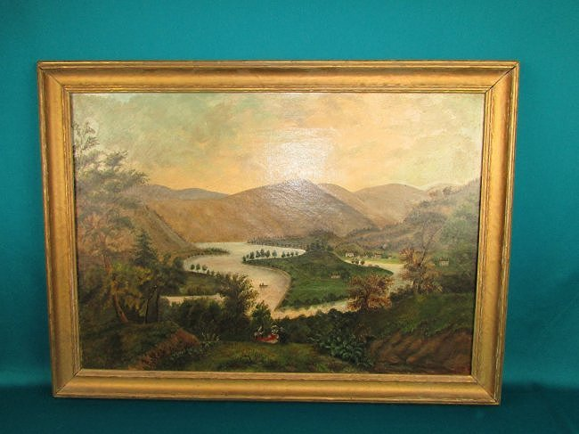 American 19th Cent. Primitive Rural Landscape Painting