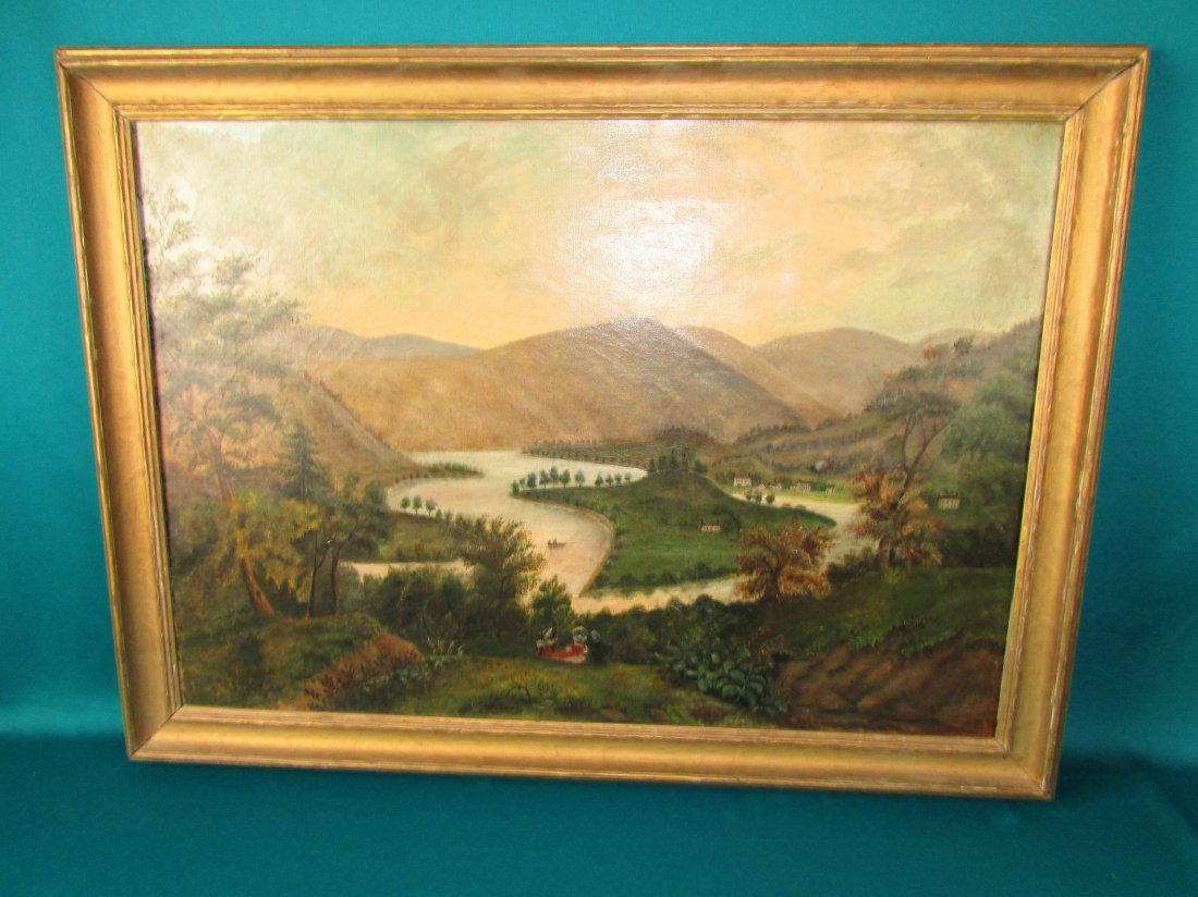 American 19th Cent. Primitive Rural Landscape Painting - 4
