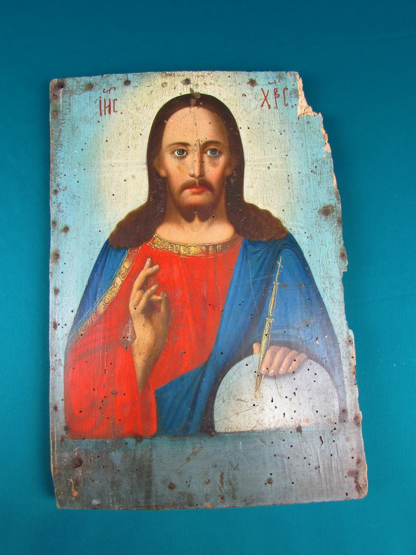 Russian Icon 19th Cent Jesus Christ Oil on Panel Р