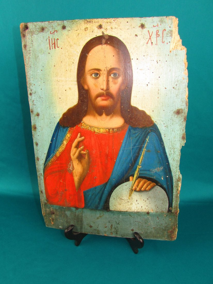 Russian Icon 19th Cent Jesus Christ Oil on Panel Р - 4