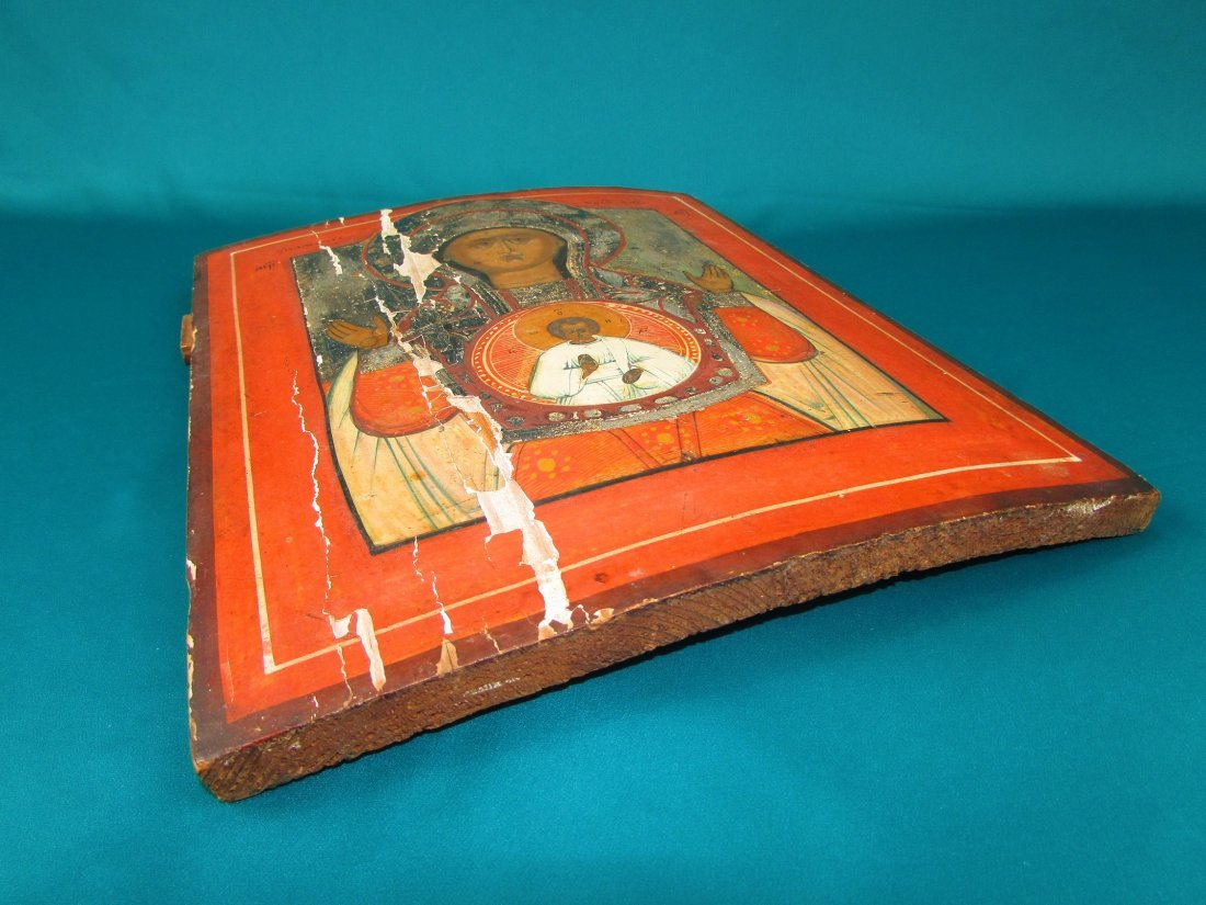 Russian IconThe Mother of God of Smolensk Oil on Panel - 5