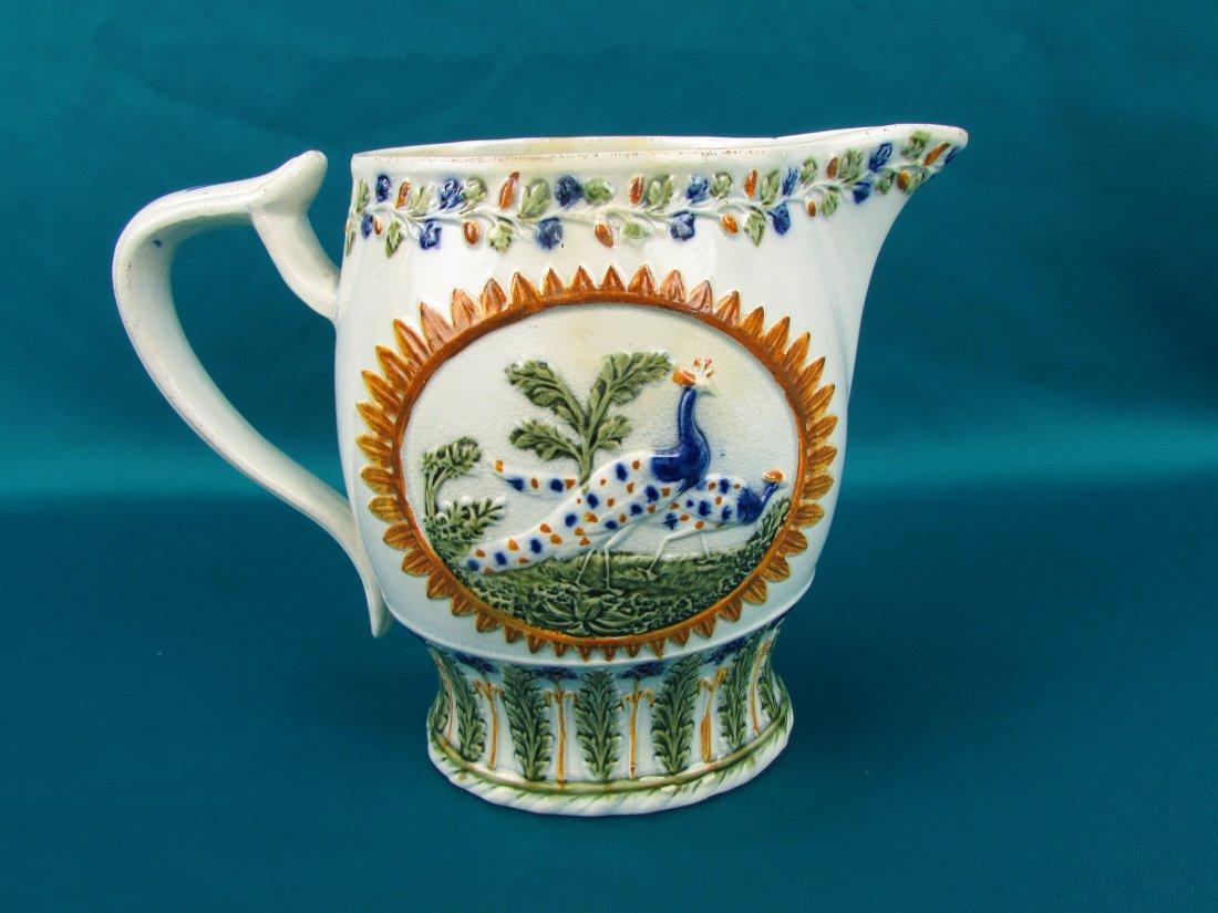 Circa 1800 Staffordshire Pearlware Enameled Peacock Jug