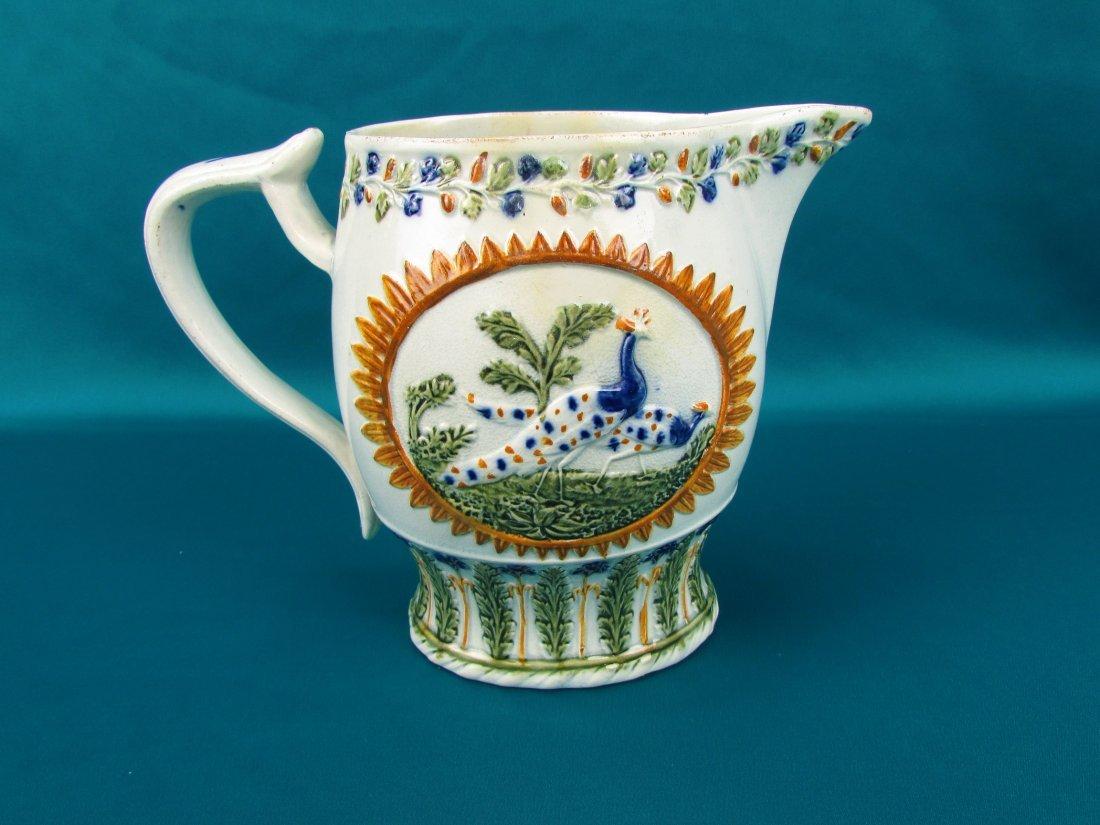 Circa 1800 Staffordshire Pearlware Enameled Peacock Jug - 4