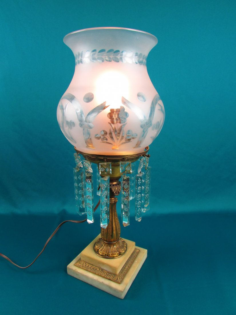 Victorian Brass Bronze Etched Glass Astrgal Oil Lamp